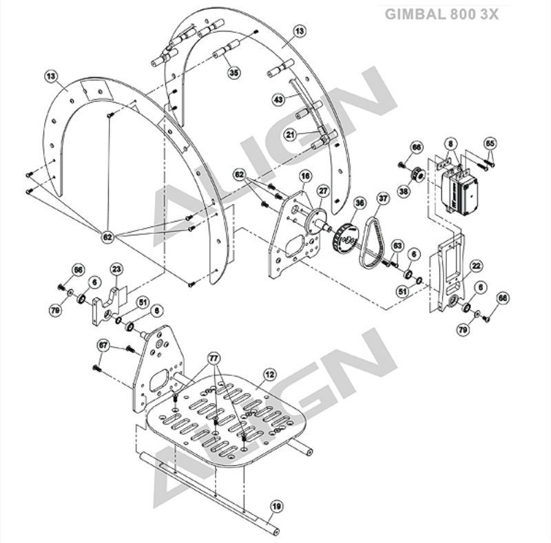 Pf Align G800 Aerial Gimbal Arches Assembly Align G800 Aerial Gimbal