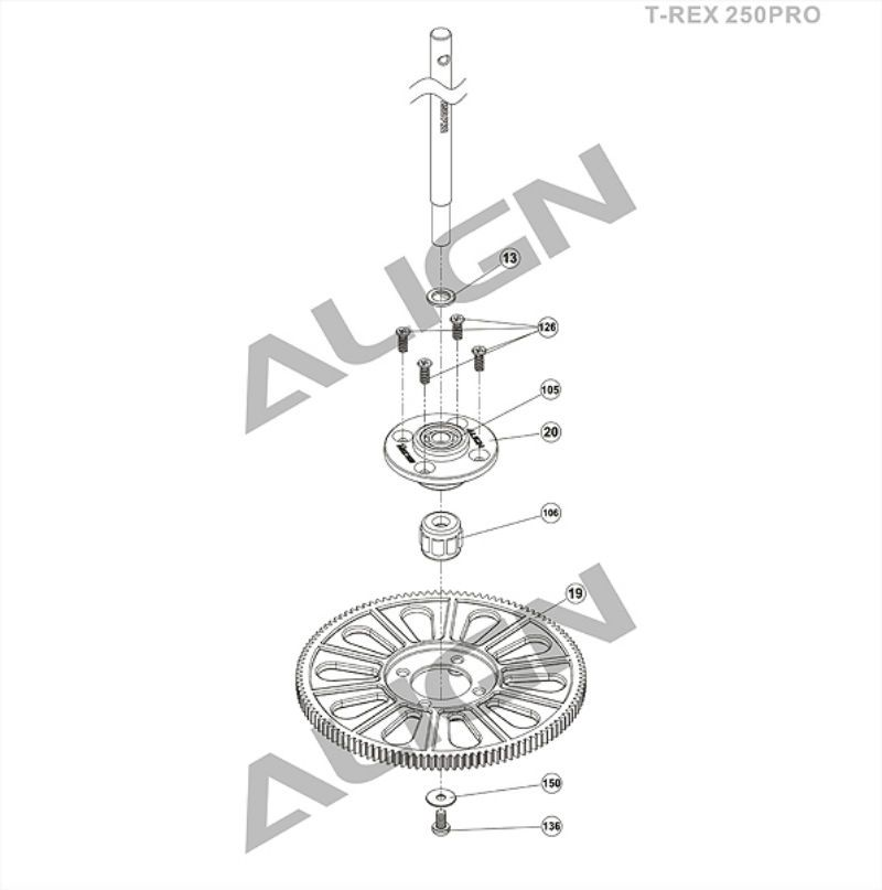 Align T-Rex 250 Pro Gear Exploded View