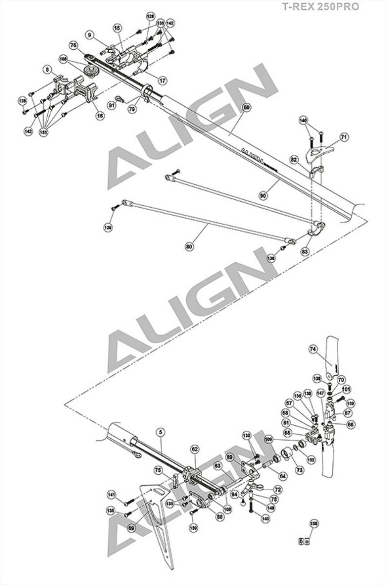 Align T-Rex 250 Pro Tail Exploded View