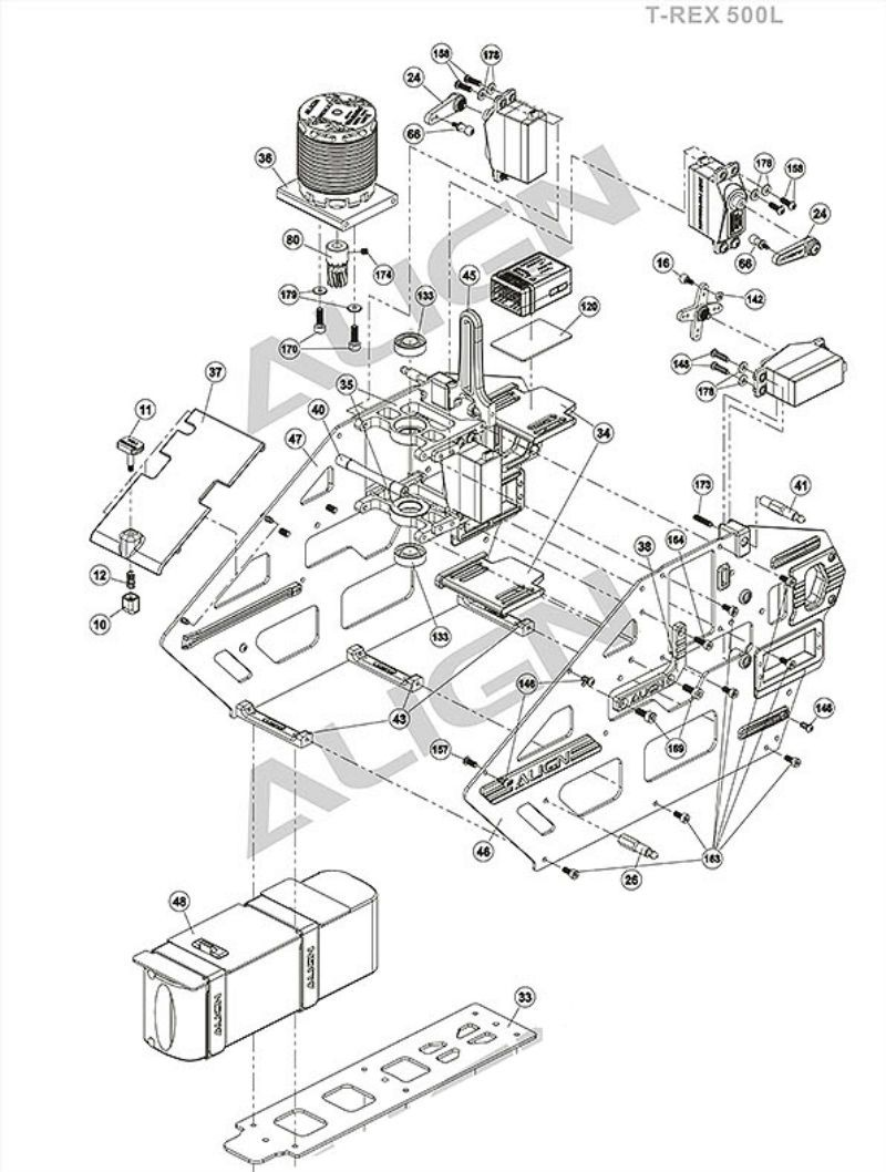 Pf Align Trex 500l Body T Rex Exploded View Schematic
