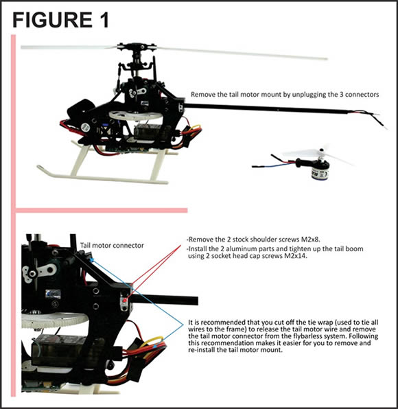 BLH2015 Blade Tail Boom w//Tail Motor Wires
