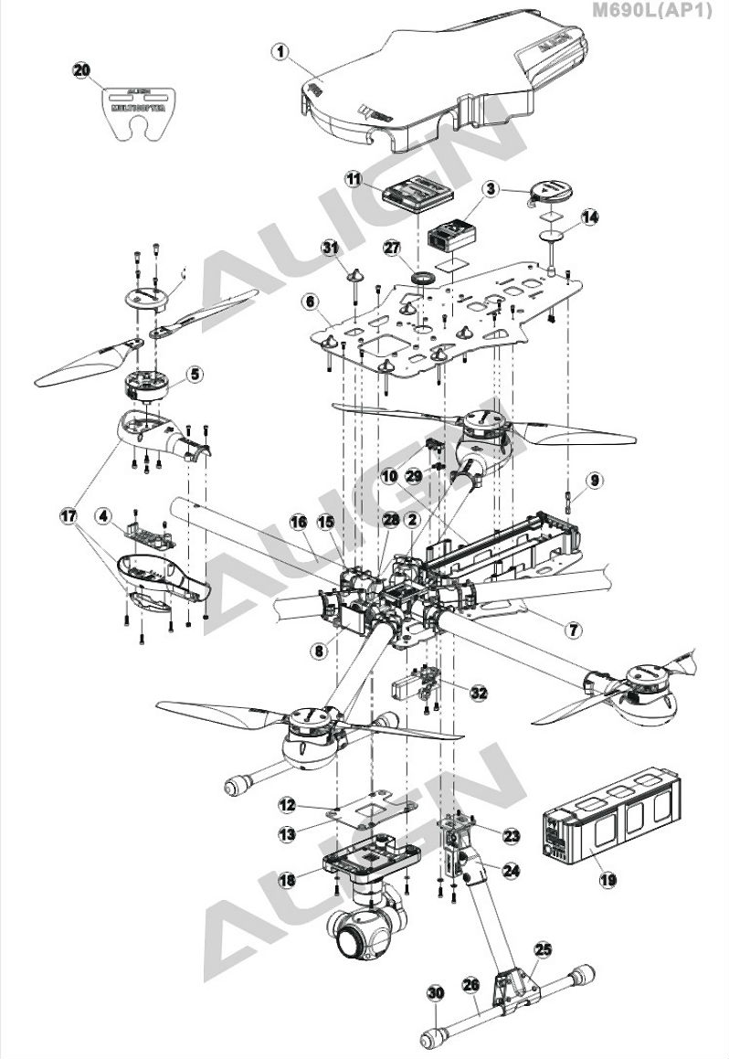 Align M480 Main Rotor Mount Blade Caddy
